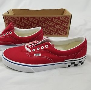 Vans Era Check Block Tango Red Skate Shoes Sz 10